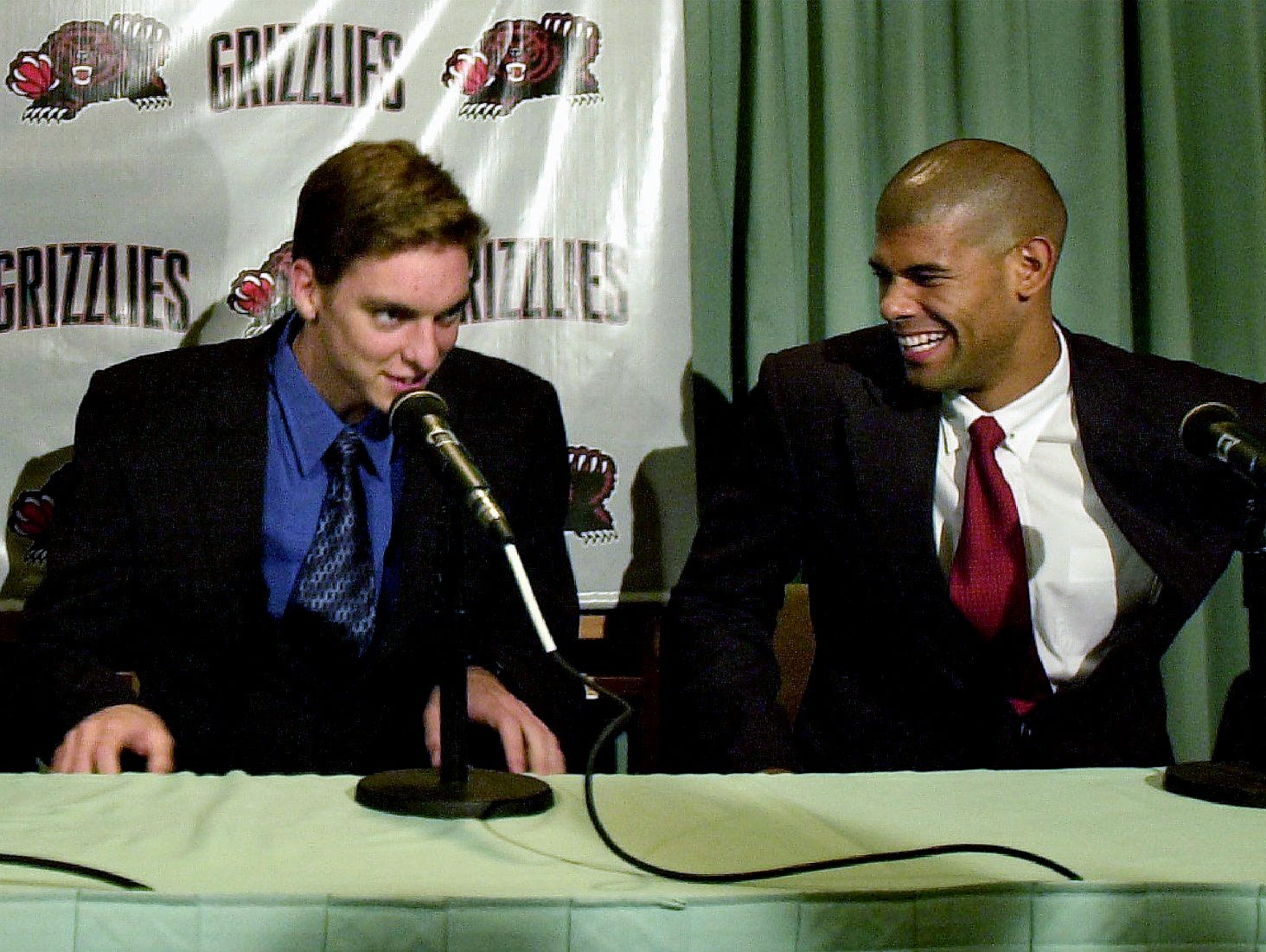 Memphis Grizzlies draft picks Pau Gasol, left, and Duke's Shane Battier are introduced to the press at the Peabody Hotel on June 27, 2001.