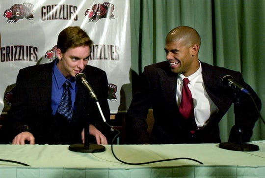 Grizzlies draft picks Pau Gasol, left, and Duke's Shane Battier are introduced to the press at the Peabody Hotel on June 27, 2001.