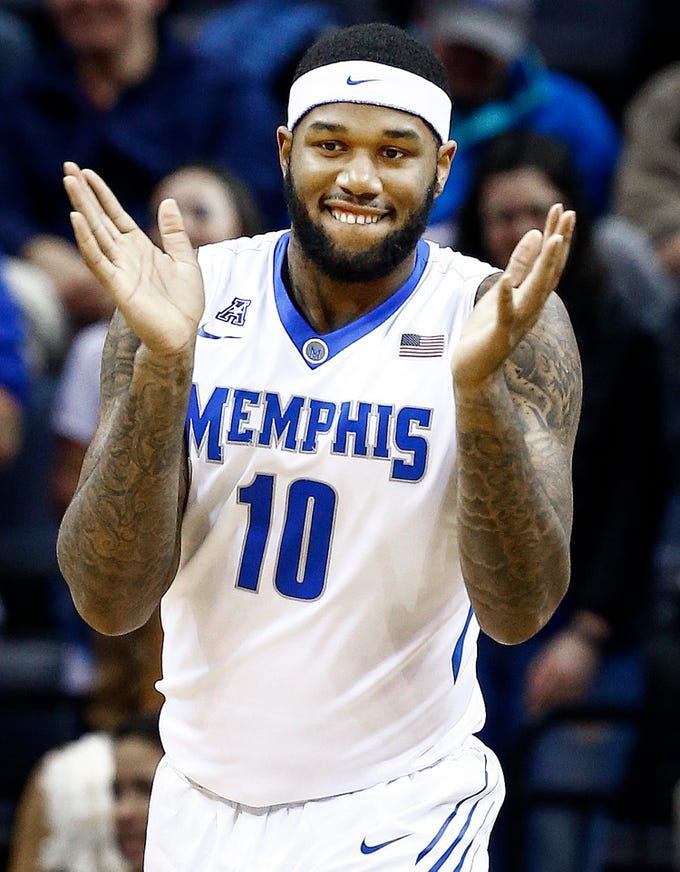 Memphis defender Mike Parks Jr. celebrates a UConn turnover during first half action at the FedExForum in Memphis Tenn., Tuesday, January 16, 2018.