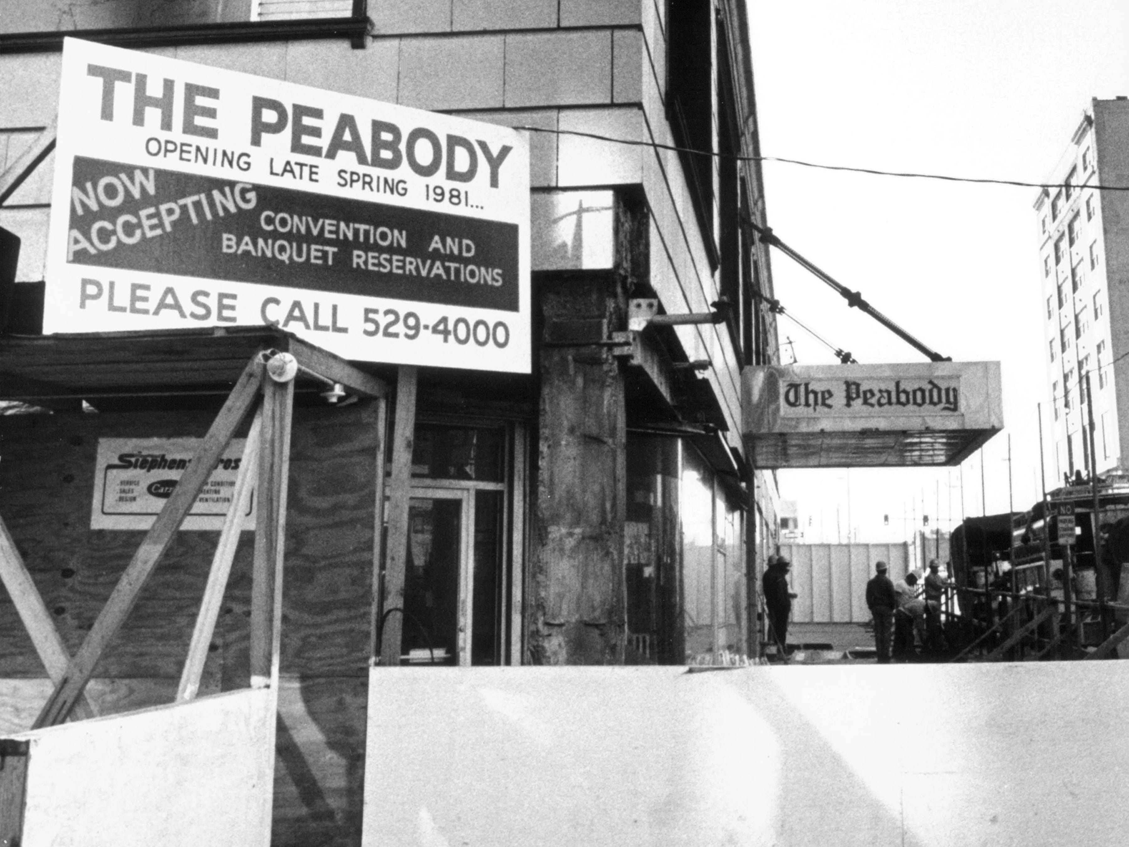 The Peabody Hotel, here Nov. 10, 1980, announces that it would be open for future business in the late spring of 1981.