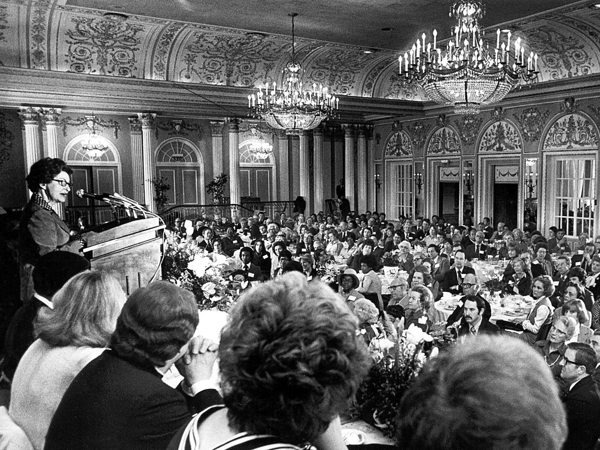 Former First Lady Mrs. Lady Bird Johnson addresses a City Beautiful gathering in the Continental Ballroom at the Peabody Hotel on Feb. 22, 1978.