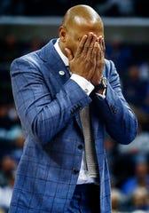 Memphis head coach Penny Hardaway reacts during a 69-64 loss to Cincinnati at the FedExForum, Thursday, February 7, 2019.