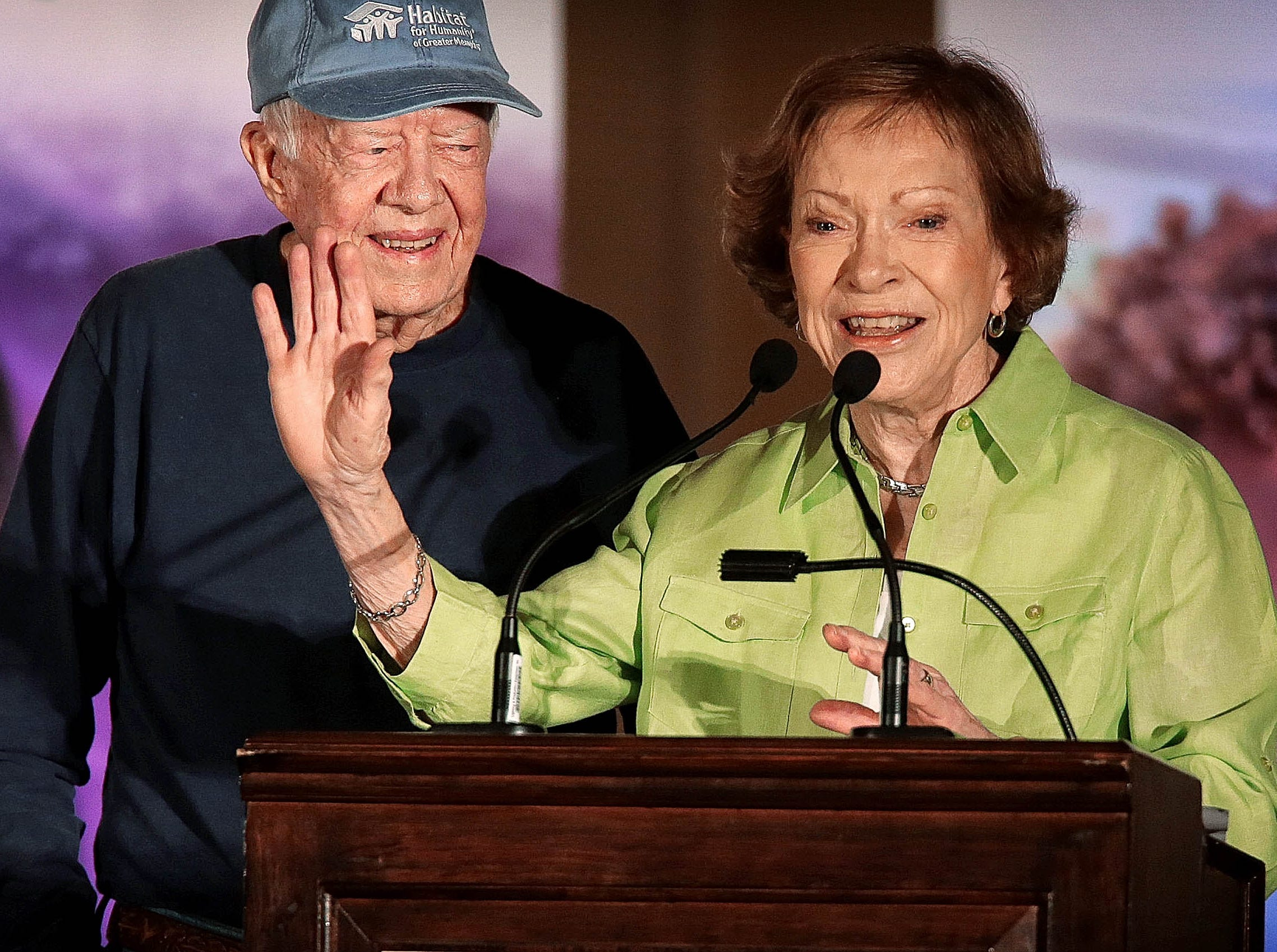 Former President Jimmy Carter and First Lady Rosalynn Carter talk to Habitat For Humanity volunteers and community leaders during a launch party for the Carter Work Project at the Peabody Hotel on Aug. 21, 2016.