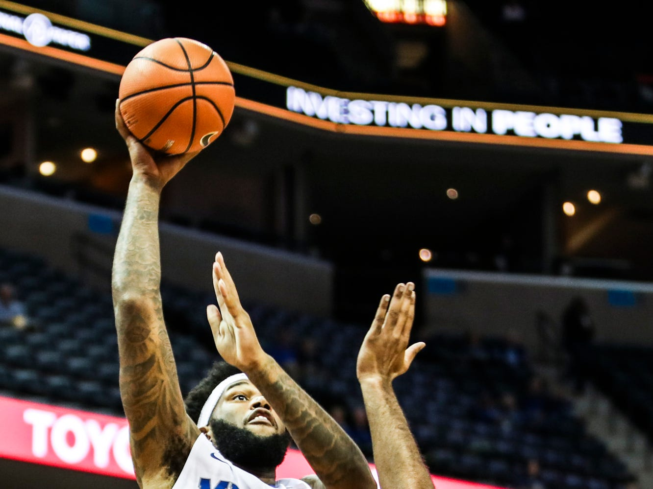 December 02, 2017 - Memphis' Mike Parks Jr. goes up for a shot during Saturday's game versus the Mercer Bears at the FedExForum.