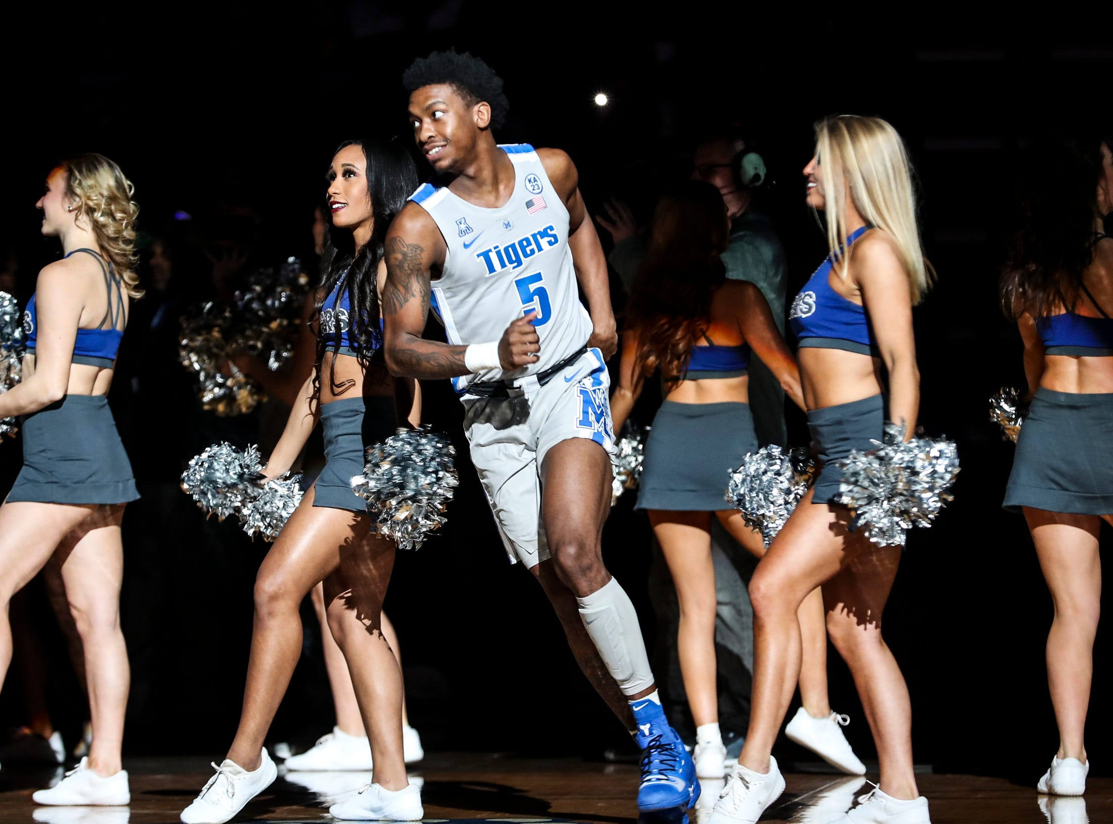 January 27 2019 - Memphis' Kareem Brewton Jr. is introduced before the start of Sunday afternoon's game against UCF at the FedExForum in Memphis.