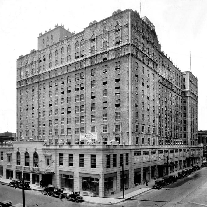 The original Peabody Hotel was built in 1869 at the corner of Main and Monroe by Robert Campbell Brinkley, who named it to honor George Peabody for his contributions to the South. The current Peabody Hotel, on Union Avenue shown here in a November 1926 photograph, opened on September 1, 1925, with a near identical look to the original structure. Listed on the National Register of Historic Places, The Peabody Hotel is home to the famous Peabody Ducks.