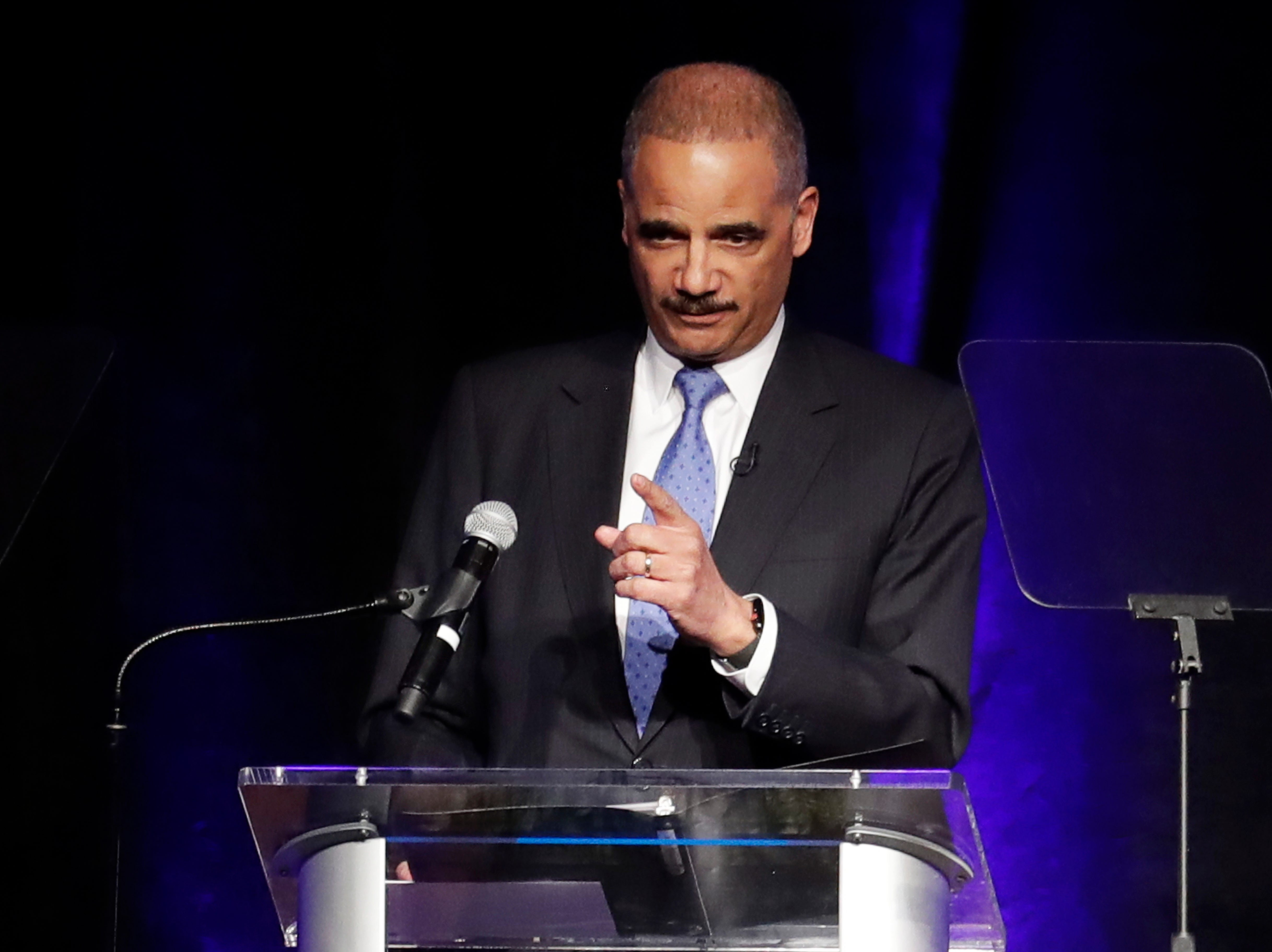 Former Attorney General Eric Holder speaks at the Peabody Hotel on April 2, 2018. Holder's speech is part of the University of Memphis Law Symposium in commemoration of the 50th anniversary of the assassination of Rev. Martin Luther King Jr.