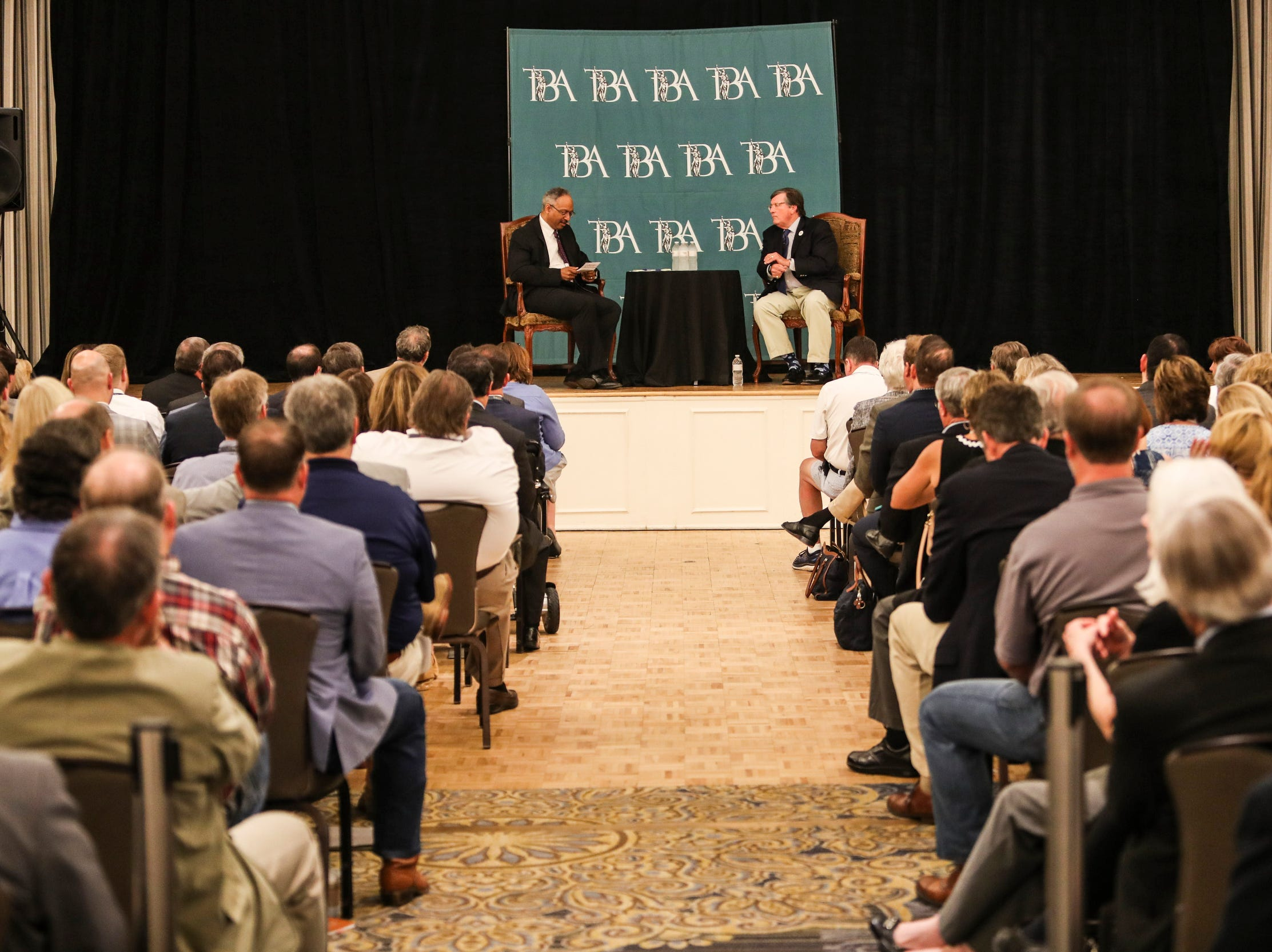 Mark Russell, executive editor of The Commercial Appeal, left, talks with gubernatorial candidate and House Minority Leader Craig Fitzhugh during the forum that included four of the six major gubernatorial candidates June 14, 2018. Russell served as moderator of the forum at The Peabody Hotel that was sponsored by The Commercial Appeal and Tennessee Bar Association.