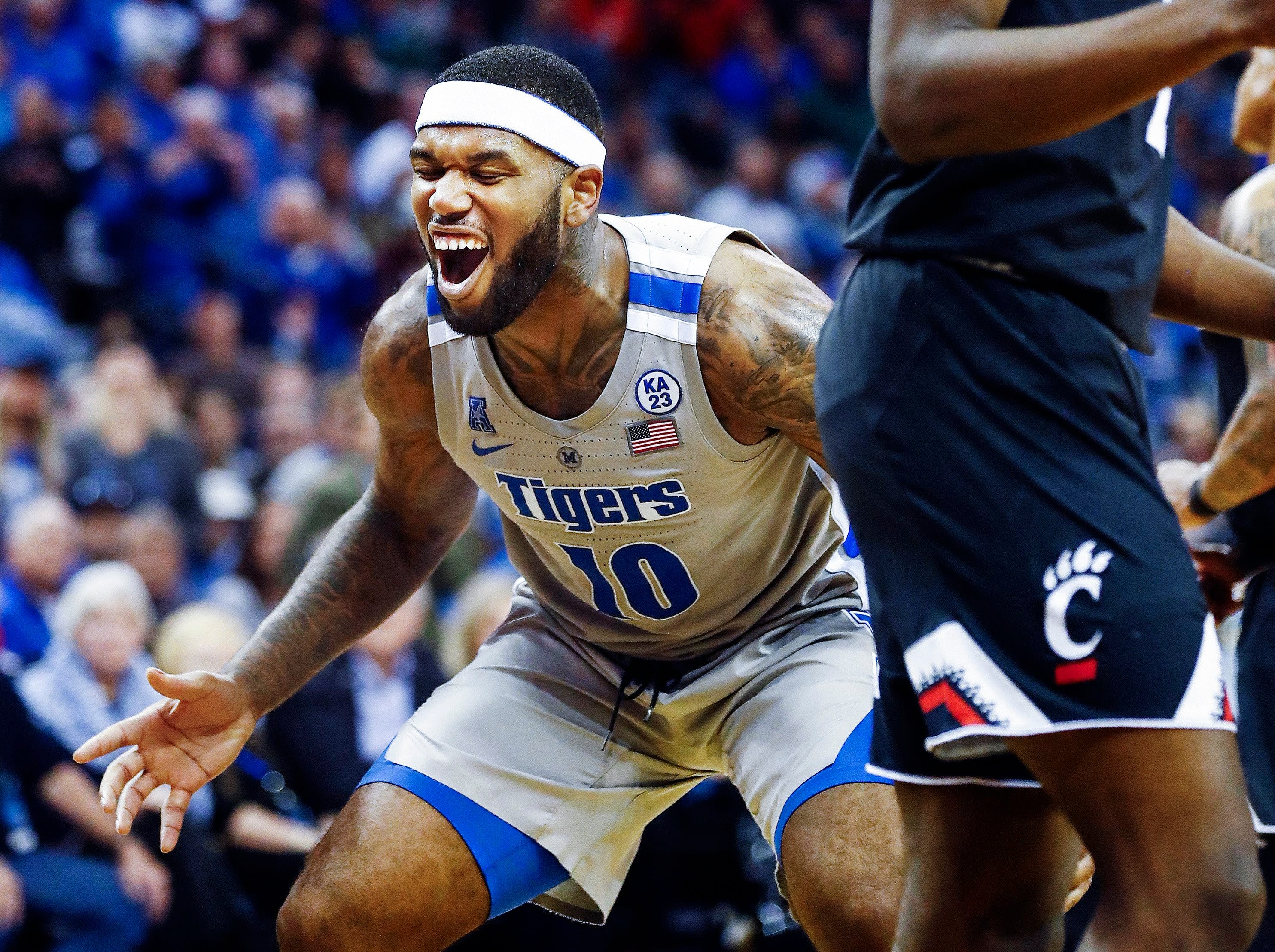 Memphis forward Mike Parks Jr. reacts after missing a shot against the Cincinnati defense during action at the FedExForum, Thursday, February 7, 2019.
