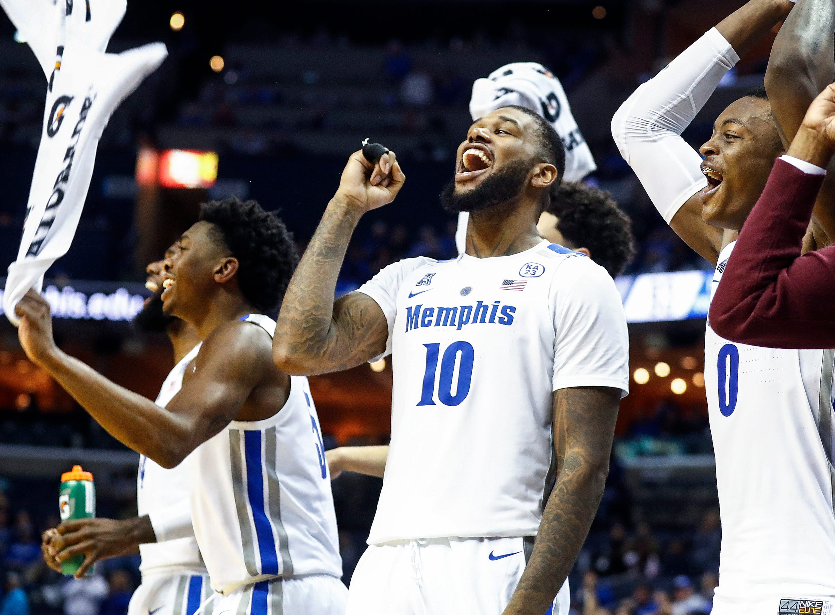 Memphis' Mike Parks Jr. celebrates on the bench during action against UAB at the FedExFourm in Memphis, Tenn., Saturday December 8, 2018