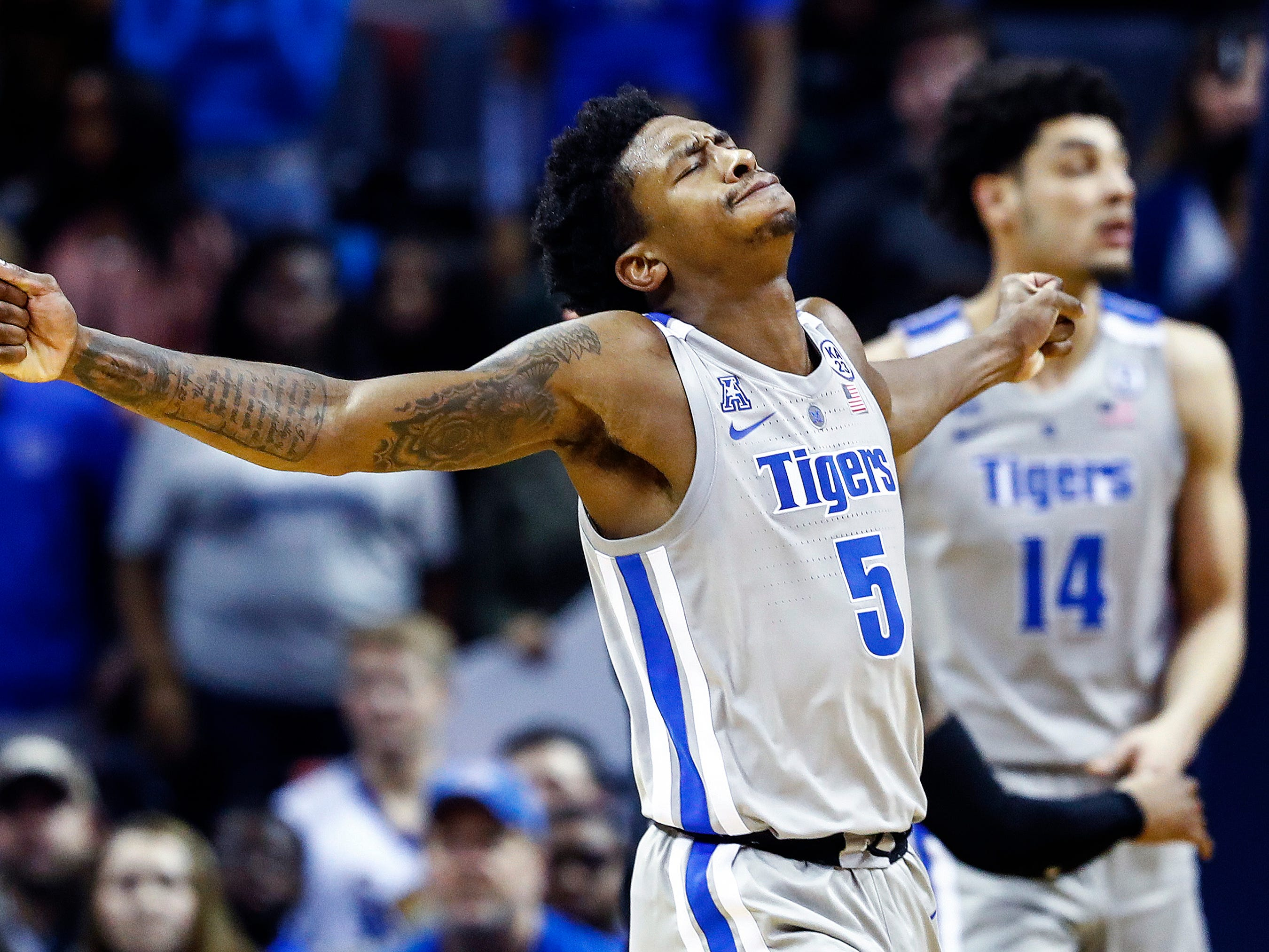 Memphis defender Kareem Brewton Jr.  reacts after being called for a foul against Cincinnati during action at the FedExForum, Thursday, February 7, 2019.