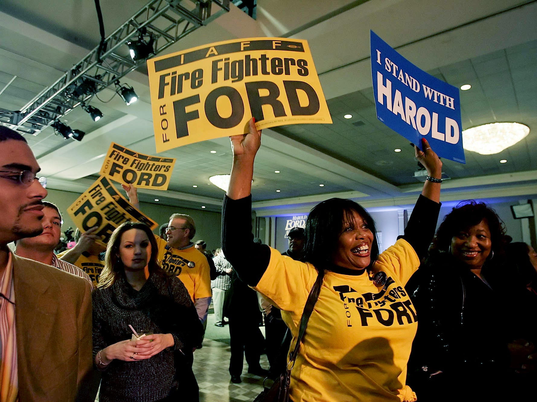 Linda Carter, center, dances at a rally for Democratic candidate U.S. Senate Harold Ford Jr. at the Peabody Hotel in Memphis on election night Nov. 7, 2006.