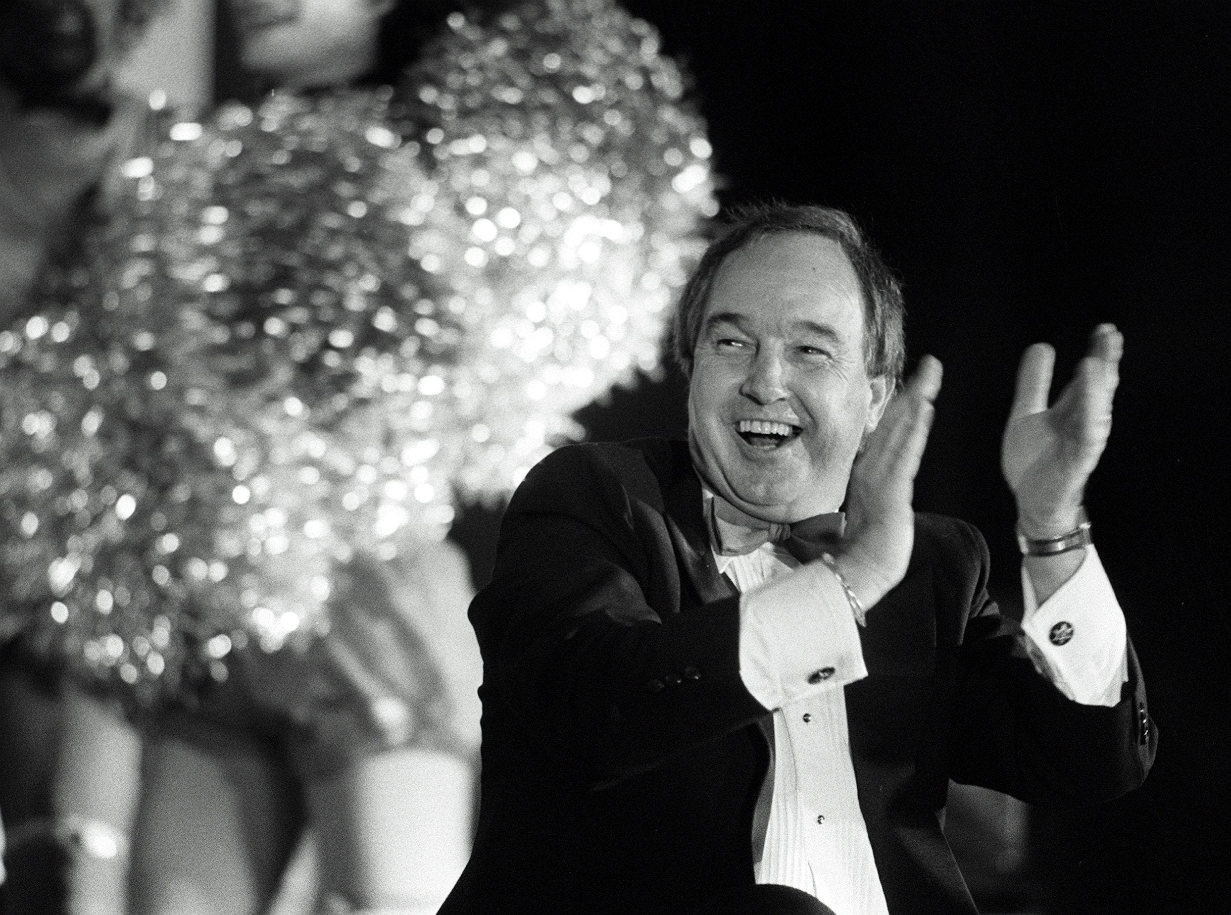 Memphis Showboats coach Pepper Rodgers shares in the laughter during a roast where he was the object of attention at The Peabody on July 26, 1984. Among those taking their turn at the coach were Avron Fogelman, John Grisanti and Showboats quarterback Walter Lewis. Proceeds from the event went to the Big Brothers/Big Sisters of Greater Memphis.