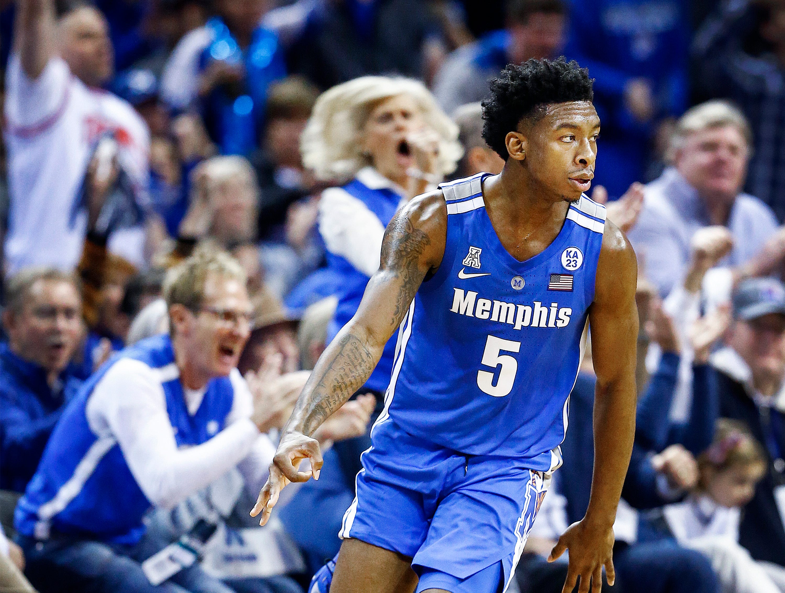 Memphis guard Kareem Brewton Jr. celebrates a made 3-pointer against Tennessee during action at the FedExForum, Saturday, December 15, 2018.