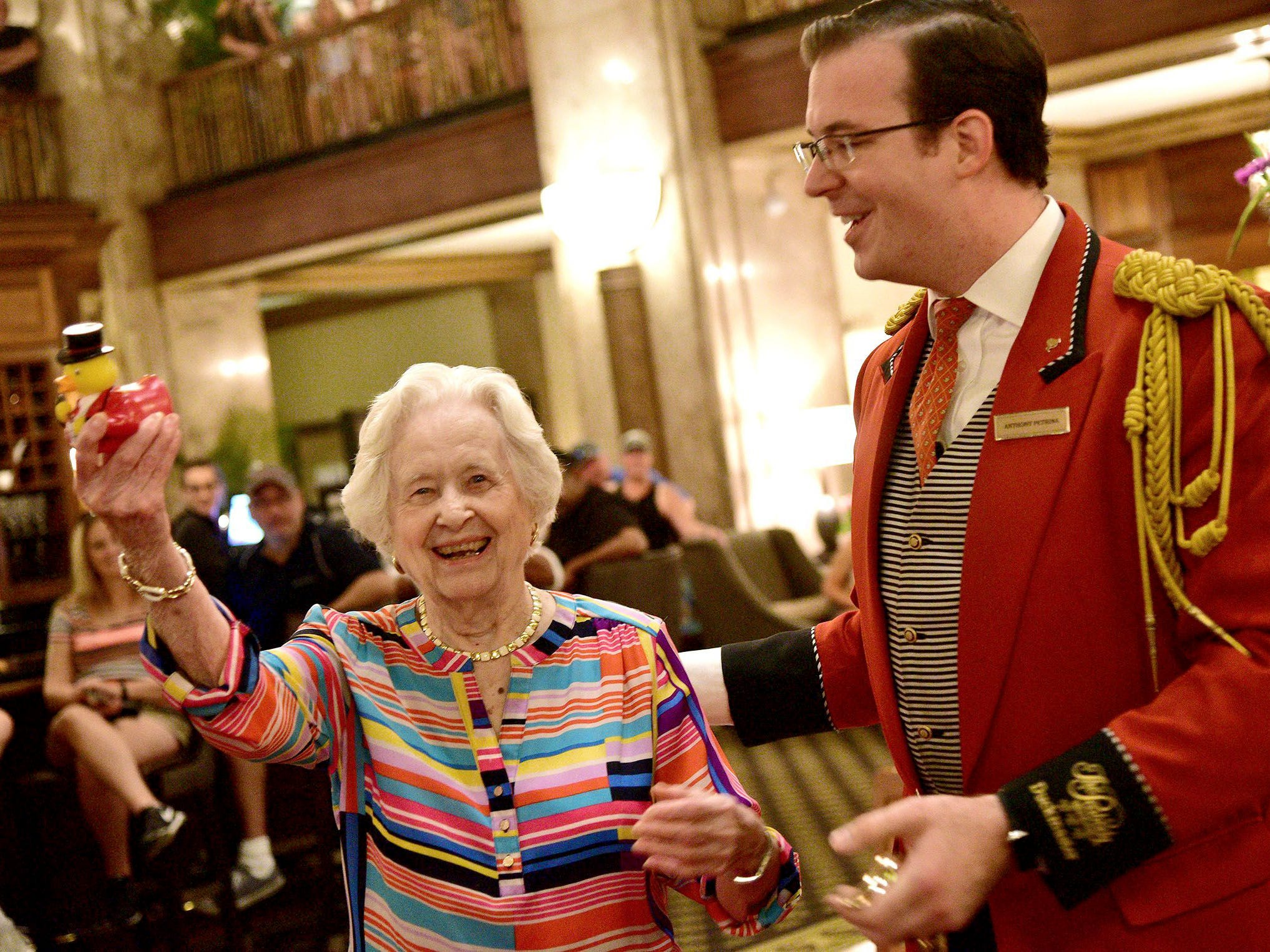 Minnie Opal  Hill displays a rubber duck presented to her by Peabody Duckmaster Anthony Petrina. Hill celebrated her 100th birthday July 28, 2018, at The Peabody Hotel by being named honorary Duckmaster.