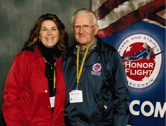 A photo of Jack Koepp at an honor flight with his daughter, Jackie Koepp.