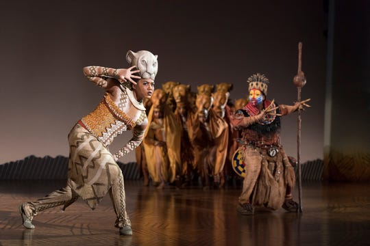 "Nia Holloway and Buyi Zama perform in the national touring company of Disney's ""The Lion King."""