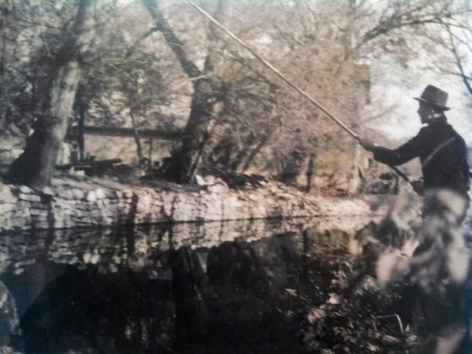 An image of Jack Koepp fishing in the 1940's. The same image is used on the Koepp River Parkway sign which was created in 2014.