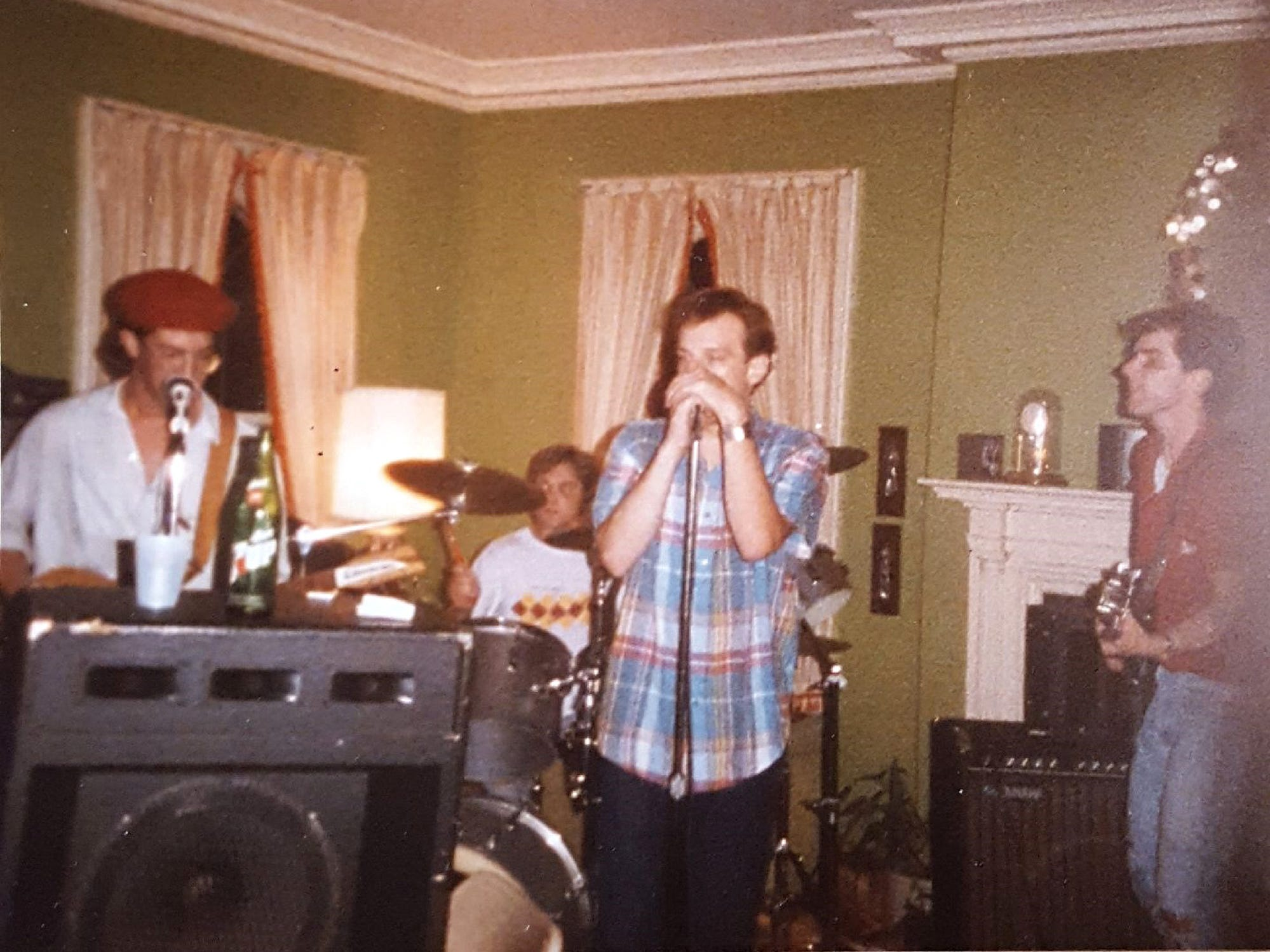 The parties often featured live music, in this case from Chimera Depot in 1984.
