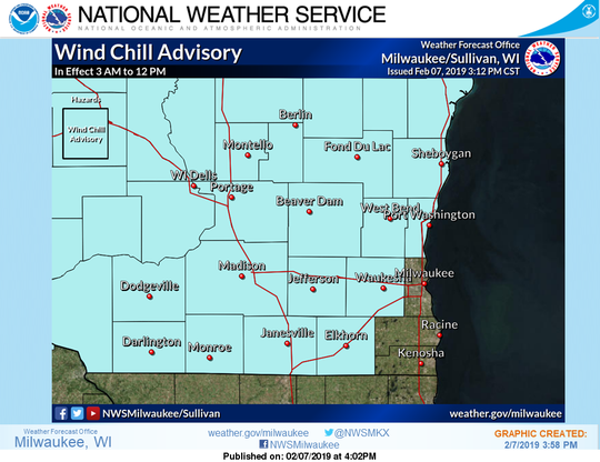 Low temperatures tonight in the single digits above and below zero will combine with a strong west wind of 20 to 25 mph gusting 30 to 40 mph to produce wind chill values of minus 15 to minus 25 by early Friday. A wind chill advisory has been issued and is in effect from 3 a.m. to noon Friday.