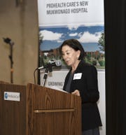 ProHealth Care CEO Susan Edwards addresses the crowd during the Mukwonago hospital groundbreaking ceremony Feb. 6. The 24-bed facility will enhance the existing healthcare campus, she said.