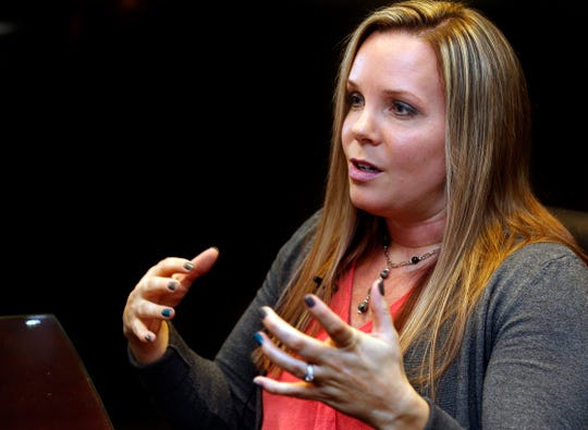 Nicole Casady talks about her sexual abuse by Larry Nassar on Thursday, Feb. 7, 2019, in Oak Creek, Wisconsin. Casady was a star gymnast at Case High school in Racine and was recruited by Michigan State University. She is one of approximately 500 women who were sexually abused by Nassar, who was then considered a top trainer/doctor for Olympic and college athletes.