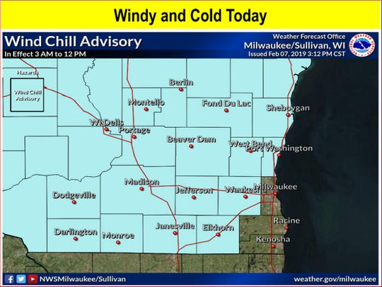 A wind chill advisory is in effect for much of southeastern Wisconsin until noon Friday. Wind chills could hit 25 below zero north and west of Milwaukee County. In the Milwaukee area, wind chills could hit minus 15.