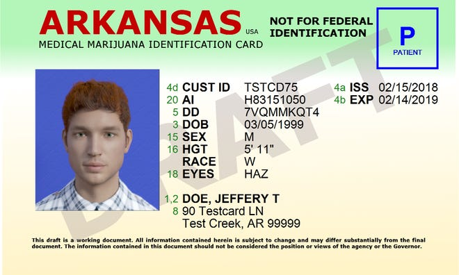 A sample image of what the state Department of Health's new medical marijuana identification cards will look like. The newly issued cards began being mailed out Feb. 4.