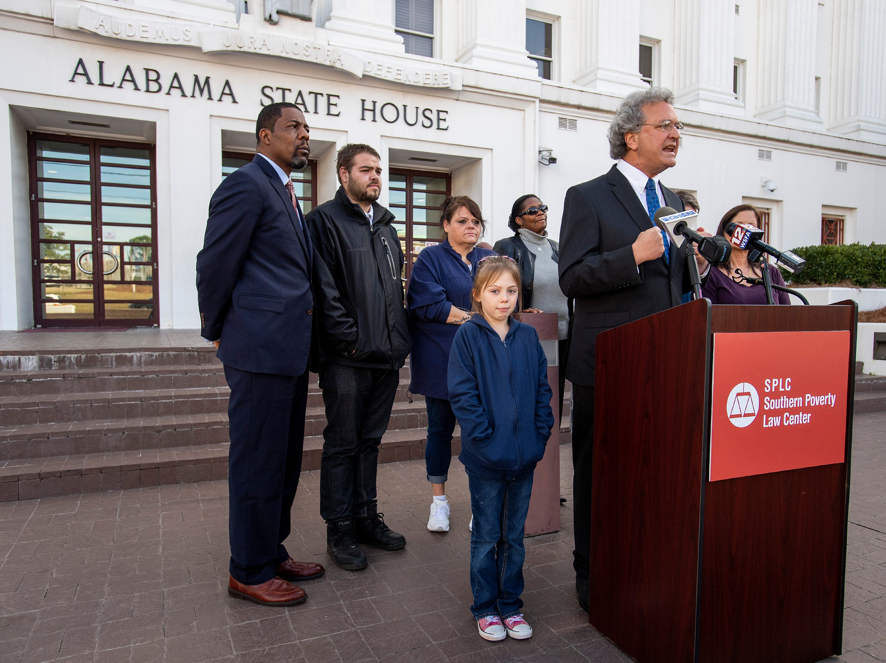 Richard Cohen, president of Southern Poverty Law Center speaks as the SPLC holds a press conference to update the status of their lawsuit against the Alabama Department of Corrections, dealing with the medical and mental health needs of inmates, on the steps of the Alabama Statehouse in Montgomery, Ala., on Friday February 8, 2019.