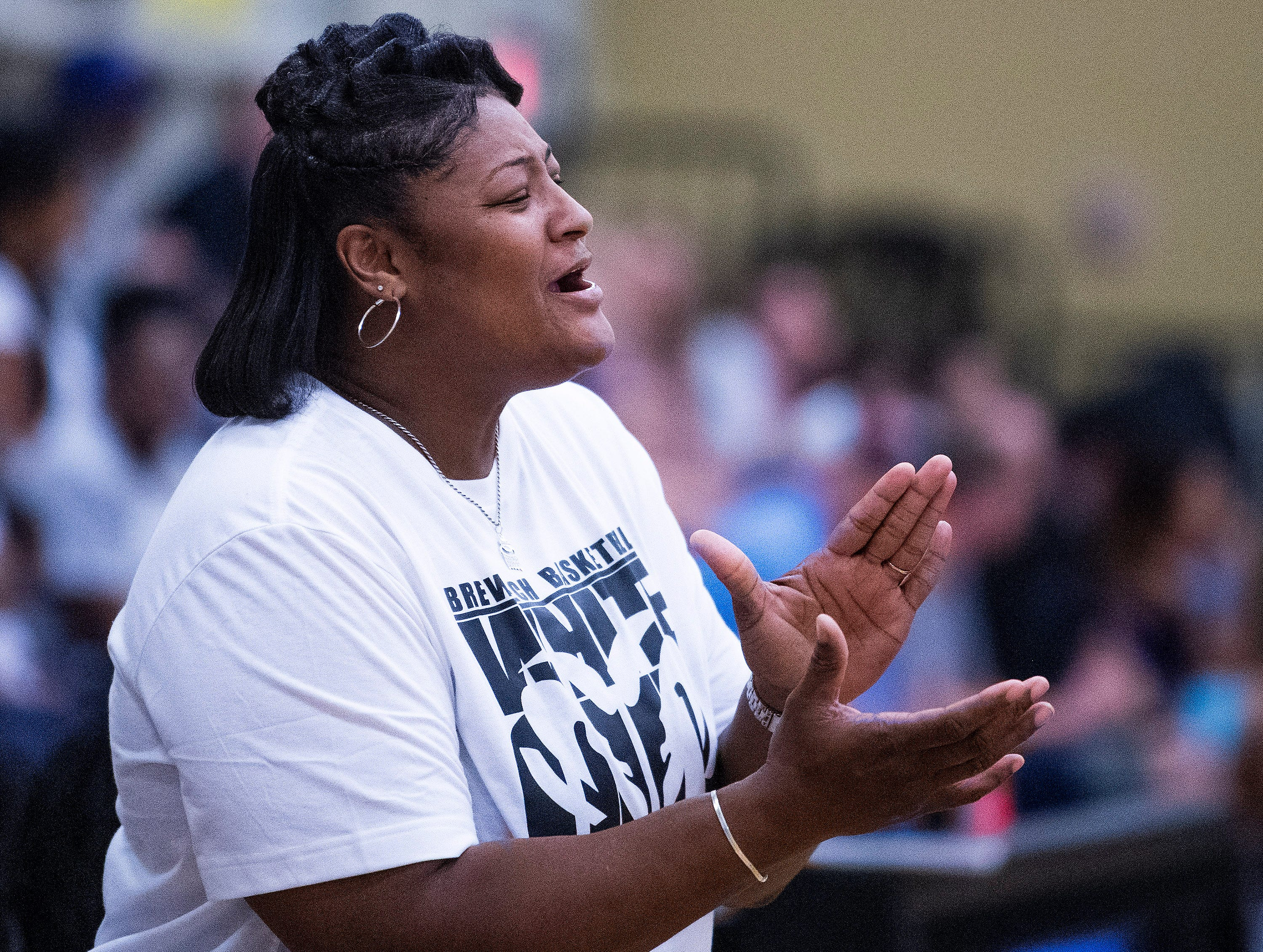 Brewbaker Tech coach Cynthia Thompson coaches against Valley at the BrewTech campus in Montgomery, Ala., on Thursday February 7, 2019.