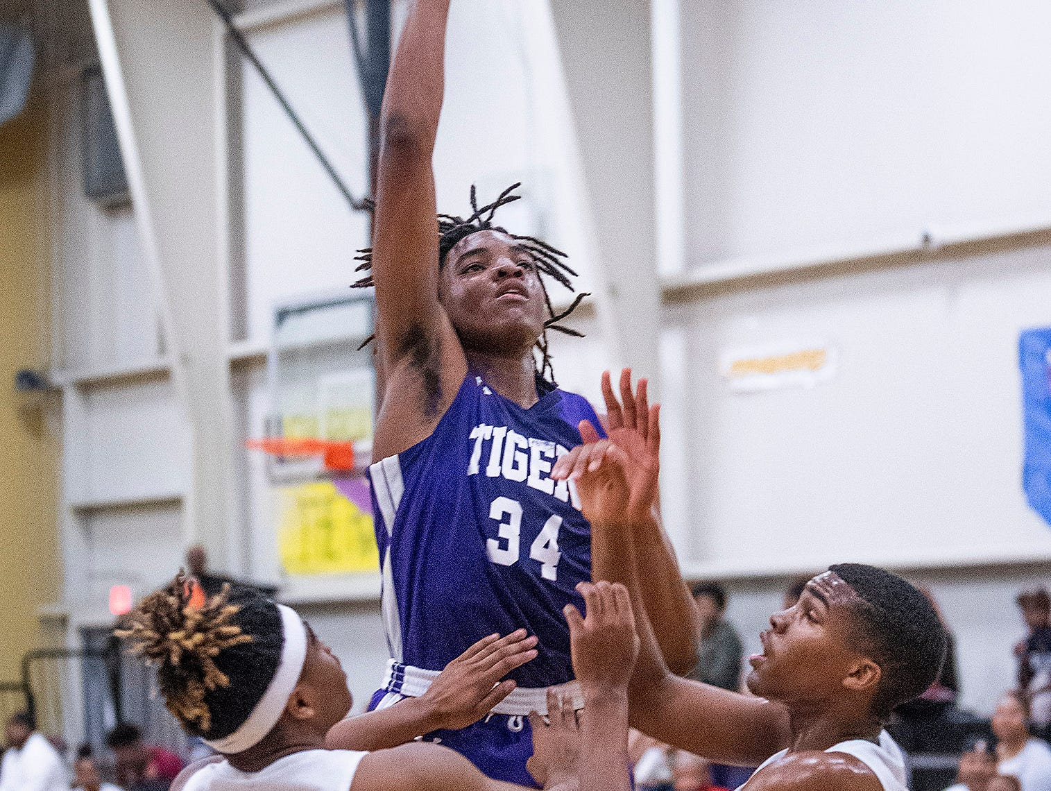 Tallassee's Tyrek Turner (34) shoots against Brewbaker Tech at the BrewTech campus in Montgomery, Ala., on Thursday February 7, 2019.