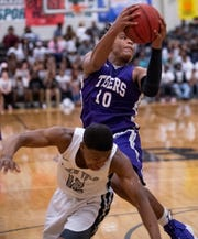 Tallassee's Tavarious Griffin (10) against Brewbaker Tech at the BrewTech campus in Montgomery, Ala., on Thursday February 7, 2019.
