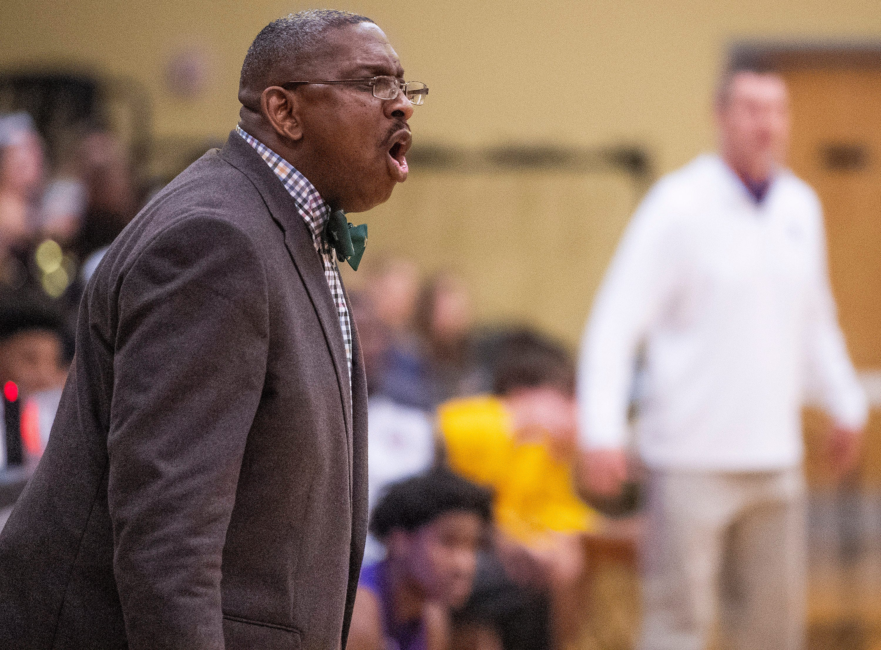 Brewbaker Tech coach Chauncey Shines  coaches against Tallassee at the BrewTech campus in Montgomery, Ala., on Thursday February 7, 2019.