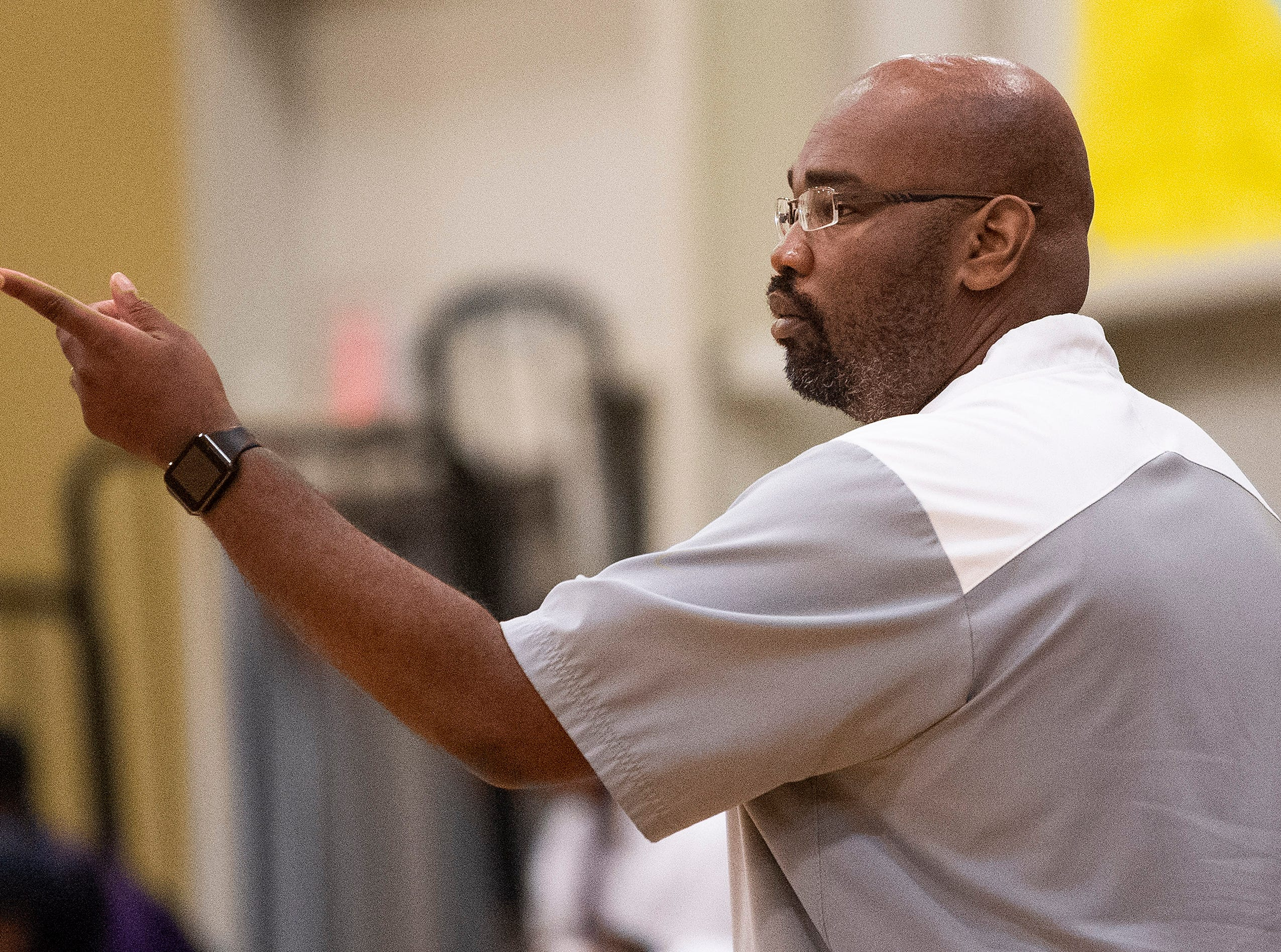 Valley coach George Grimes coaches against Brewbaker Tech at the BrewTech campus in Montgomery, Ala., on Thursday February 7, 2019.