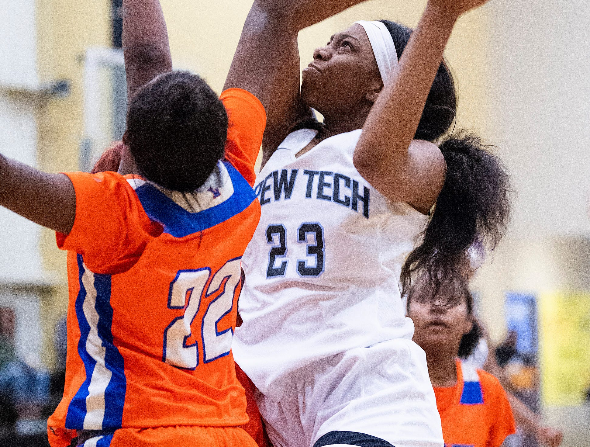 Brewbaker Tech's Kayla Williams (23) shoots against Valley's Roniaseia Cofield (22) at the BrewTech campus in Montgomery, Ala., on Thursday February 7, 2019.