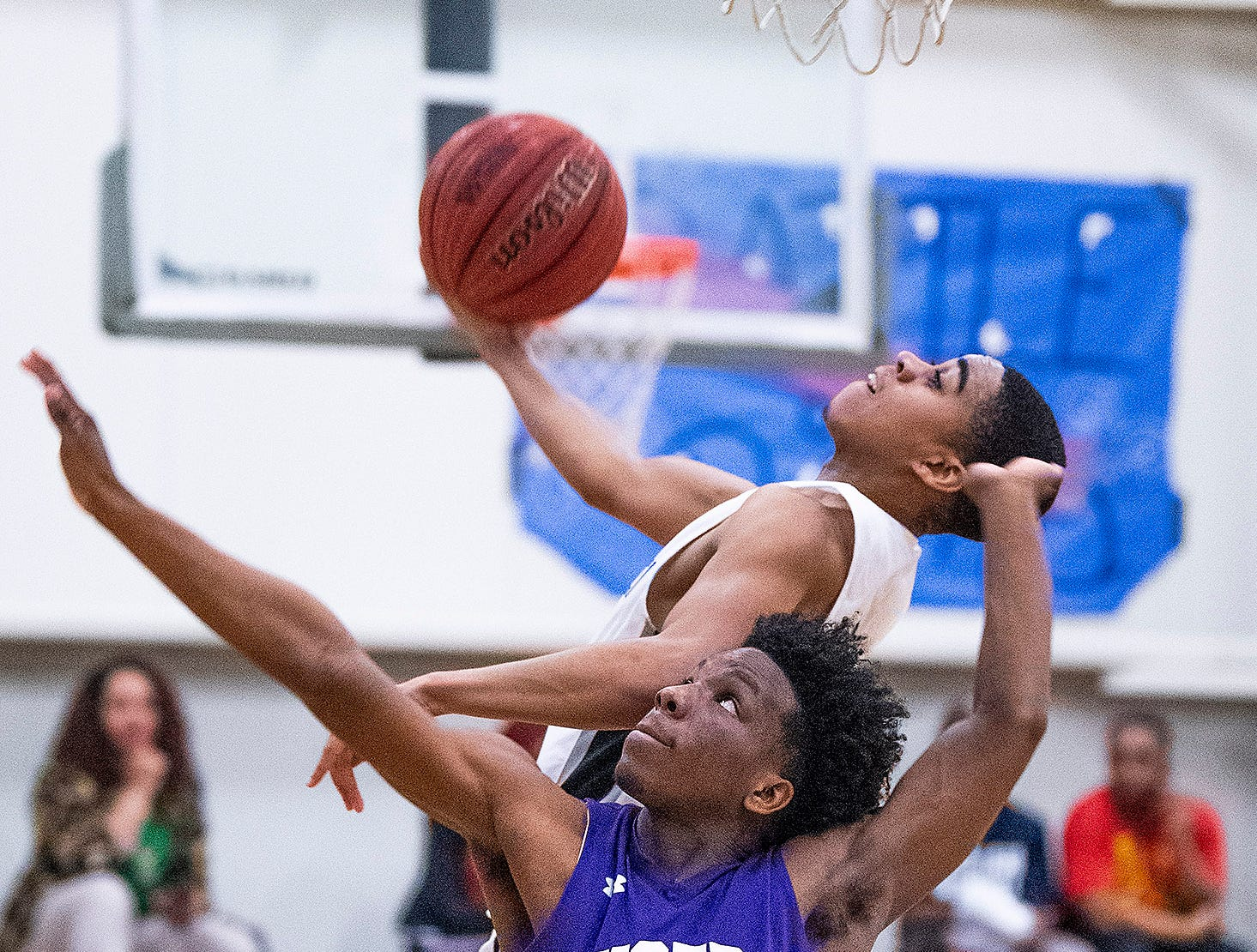 Tallassee's Jaleel Dumas (3) defends against Brewbaker Tech's Evan Carter (1) at the BrewTech campus in Montgomery, Ala., on Thursday February 7, 2019.