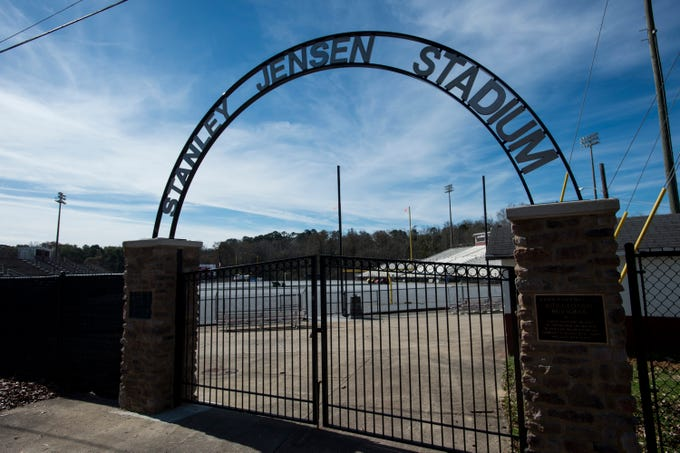 Crews work on replacing the turf field at Stanley Jensen Stadium in Prattville, Ala., on Friday, Feb. 8, 2019.