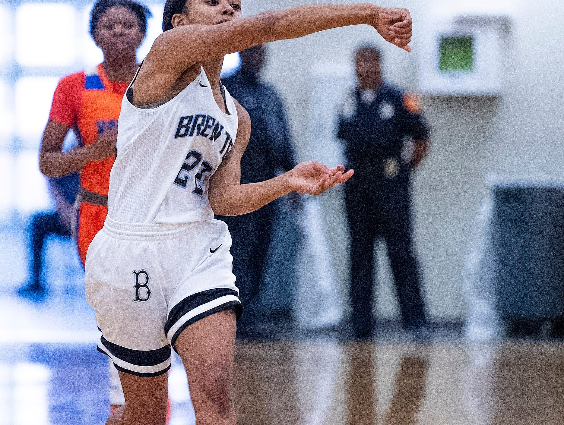 Brewbaker Tech's Curtise Forte' (22) passes against Valley at the BrewTech campus in Montgomery, Ala., on Thursday February 7, 2019.