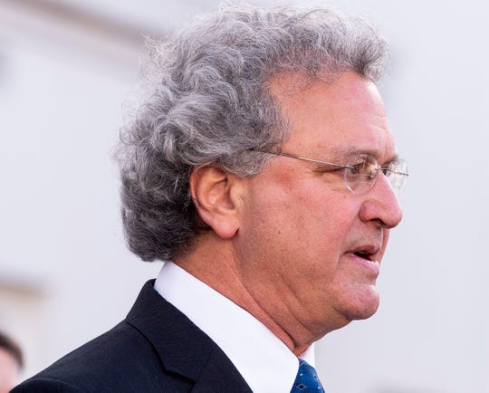 Richard Cohen, president of Southern Poverty Law Center, speaks as the Southern Poverty Law Center holds a press conference to update the status of their lawsuit against the Alabama Department of Corrections, dealing with the medical and mental health needs of inmates, on the steps of the Alabama Statehouse in Montgomery, Ala., on Friday February 8, 2019.