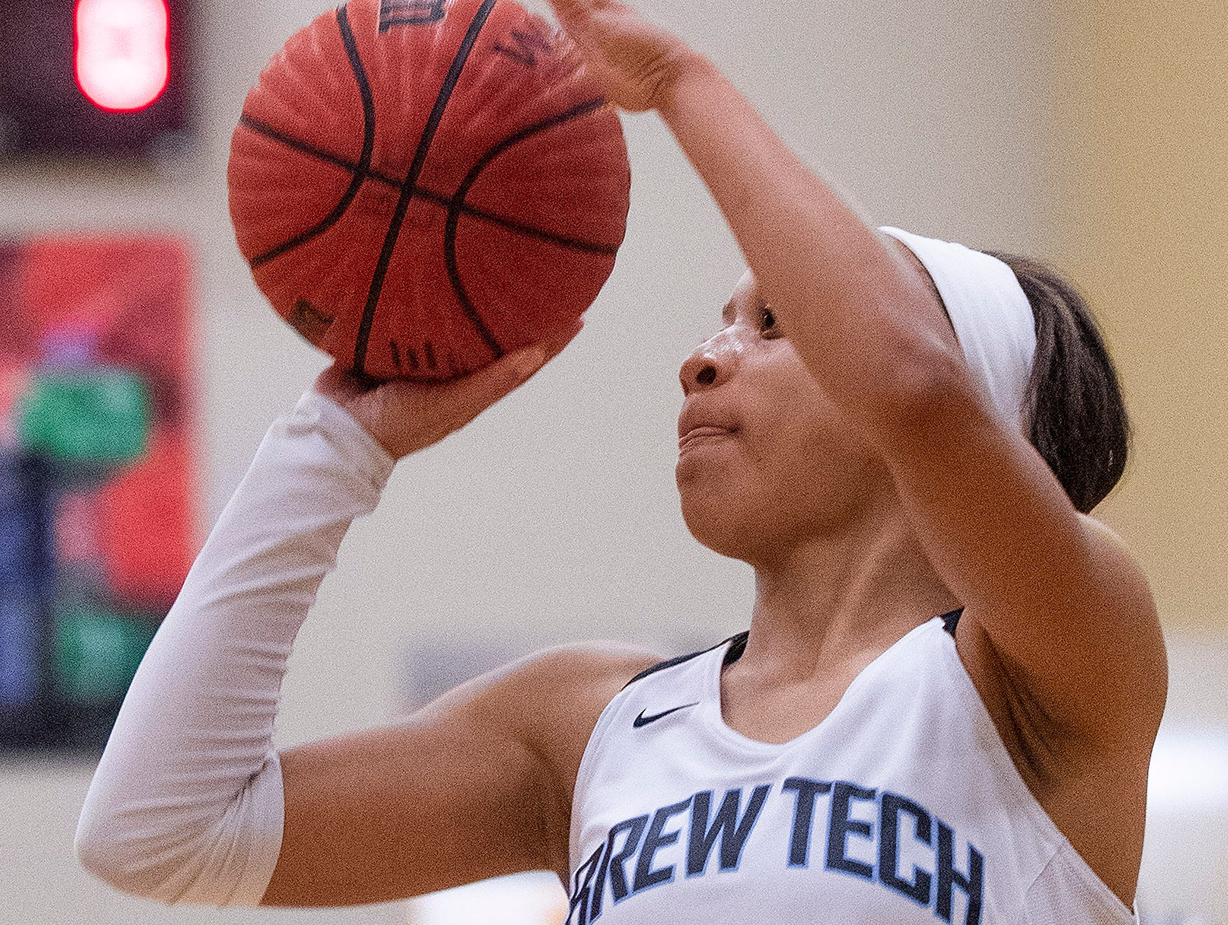 Brewbaker Tech's Taylor Sharpe (1) shoots against Valley at the BrewTech campus in Montgomery, Ala., on Thursday February 7, 2019.
