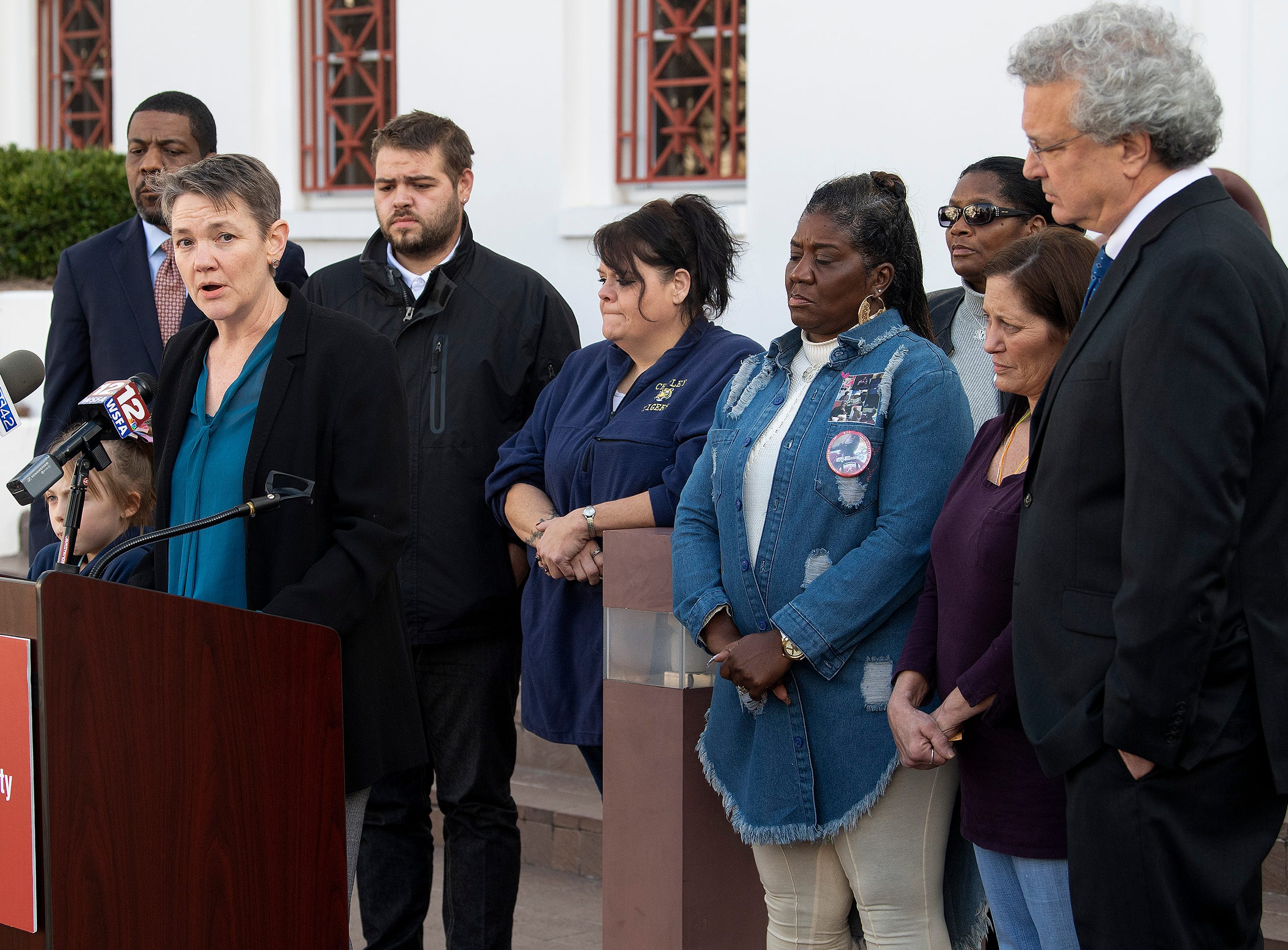 Maria Morris, senior supervising attorney at Southern Poverty Law Center, speaks as the SPLC holds a press conference to update the status of their lawsuit against the Alabama Department of Corrections, dealing with the medical and mental health needs of inmates, on the steps of the Alabama Statehouse in Montgomery, Ala., on Friday February 8, 2019.