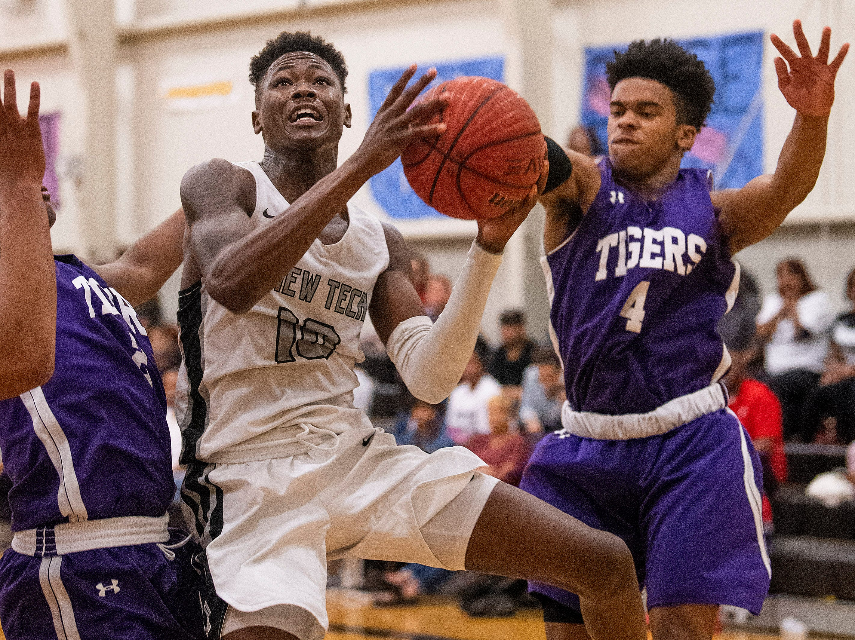 Brewbaker Tech's Desmond Williams (10) goes to the goal against Tallassee at the BrewTech campus in Montgomery, Ala., on Thursday February 7, 2019.