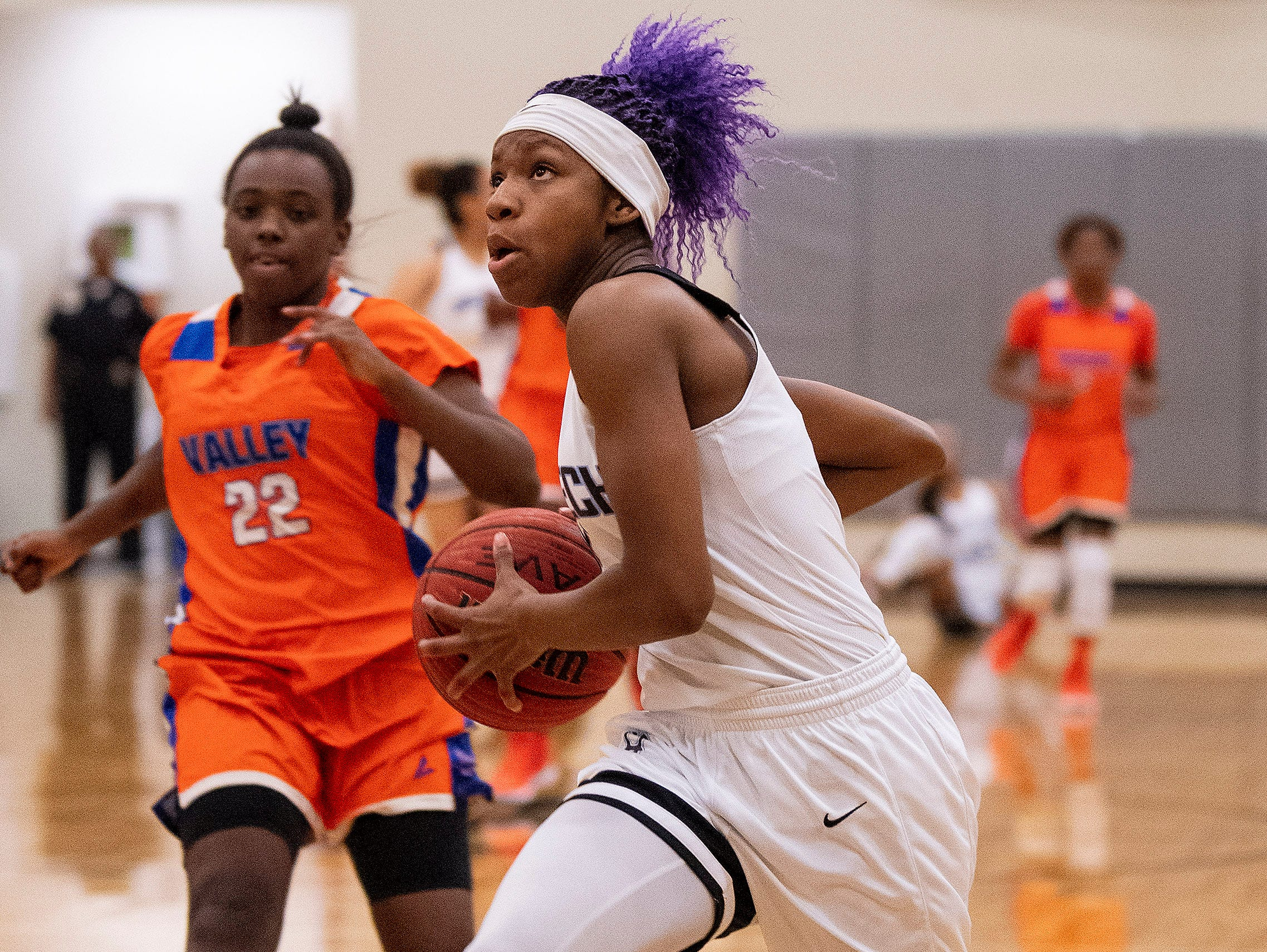 Brewbaker Tech's Skye Harris-Butler (4) drives against Valley at the BrewTech campus in Montgomery, Ala., on Thursday February 7, 2019.