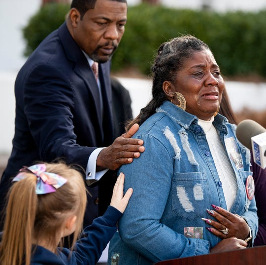 Betty Head, whose son Billy Thornton, Jr., committed suicide in prison is comforted by Jerri Ford, whose husband Paul Ford committed suicide in prison, is comforted while speaking as the Southern Poverty Law Center holds a press conference to update the status of their lawsuit against the Alabama Department of Corrections, dealing with the medical and mental health needs of inmates, on the steps of the Alabama Statehouse in Montgomery, Ala., on Friday February 8, 2019.