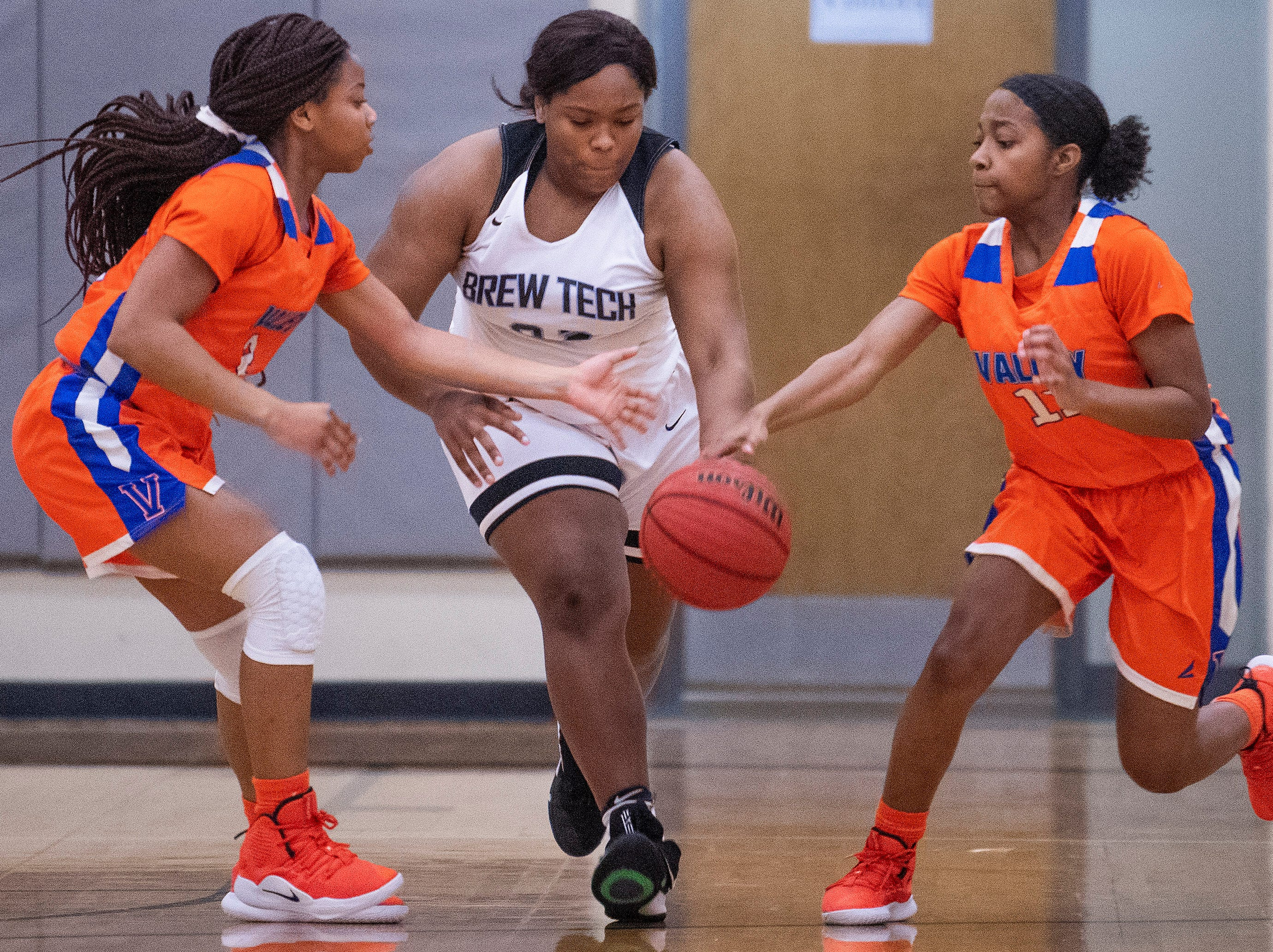Brewbaker Tech's Briana Bradshaw (32) against Valley at the BrewTech campus in Montgomery, Ala., on Thursday February 7, 2019.