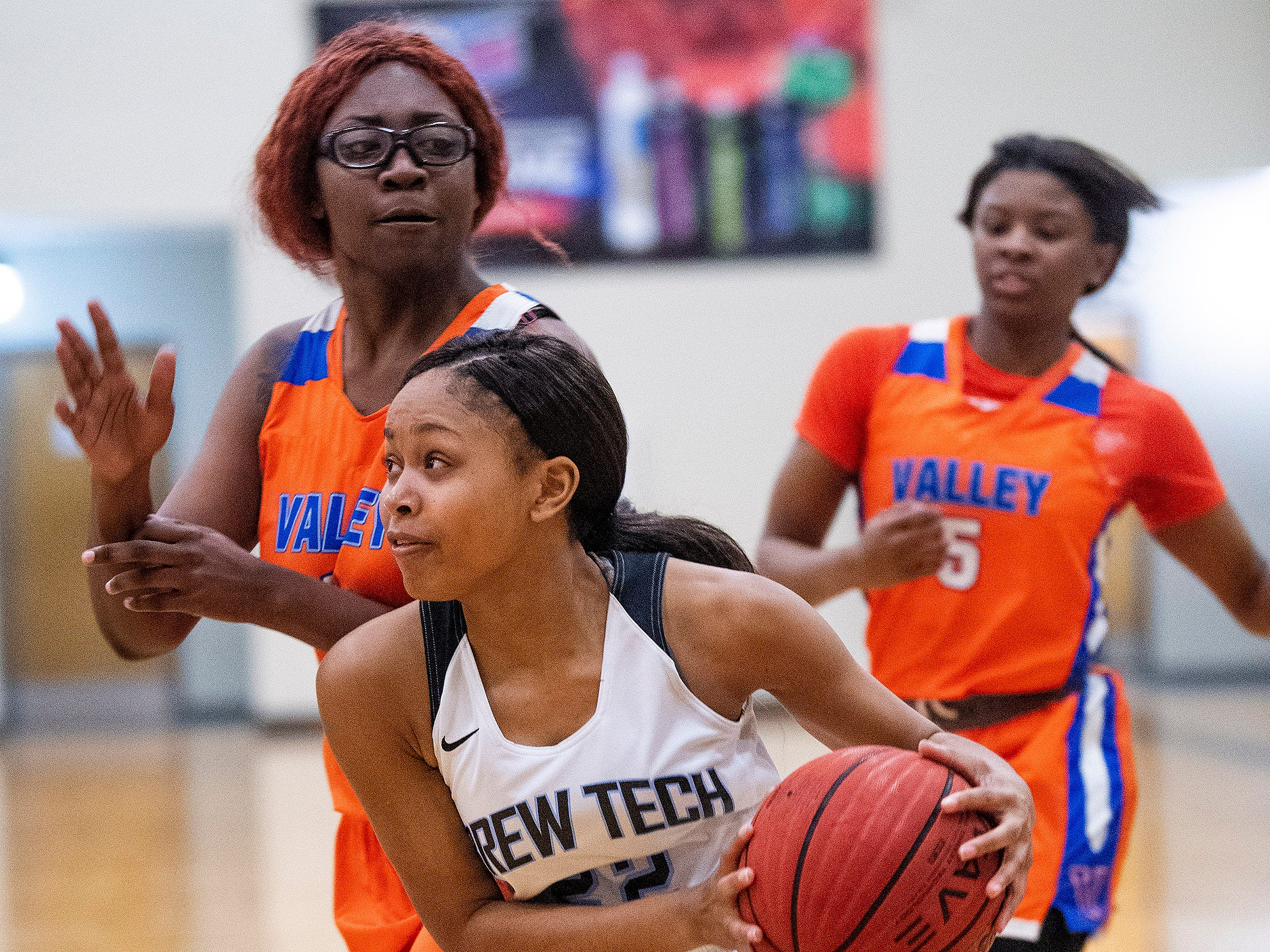 Brewbaker Tech's Curtise Forte' (22) against Valley at the BrewTech campus in Montgomery, Ala., on Thursday February 7, 2019.