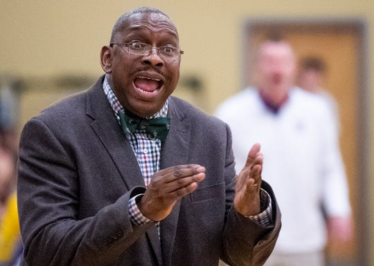 Brewbaker Tech coach Chauncey Shines against Tallassee at the BrewTech campus in Montgomery, Ala., on Thursday February 7, 2019.