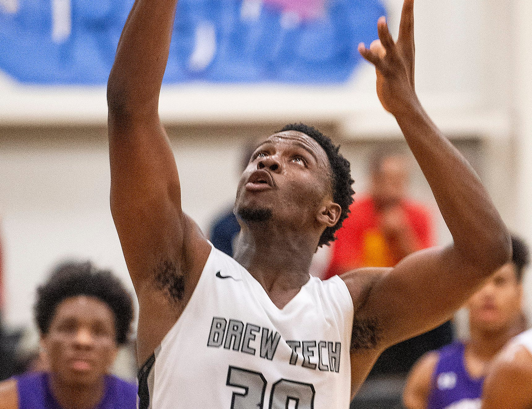 Brewbaker Tech's Jacob Jones (30) goes after a rebound against Tallassee at the BrewTech campus in Montgomery, Ala., on Thursday February 7, 2019.