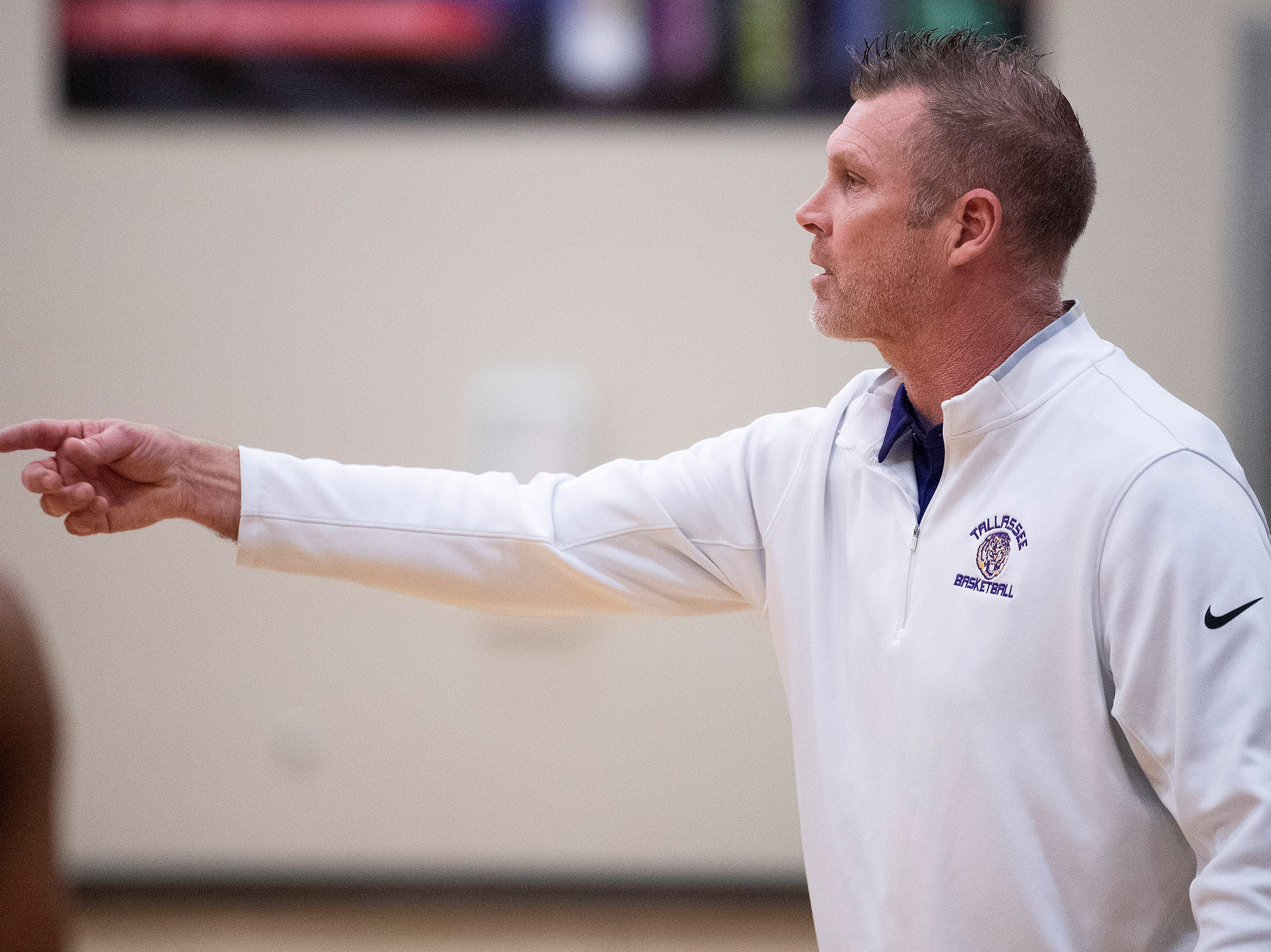 Tallassee coach Samuel Mixson coaches against Brewbaker Tech at the BrewTech campus in Montgomery, Ala., on Thursday February 7, 2019.