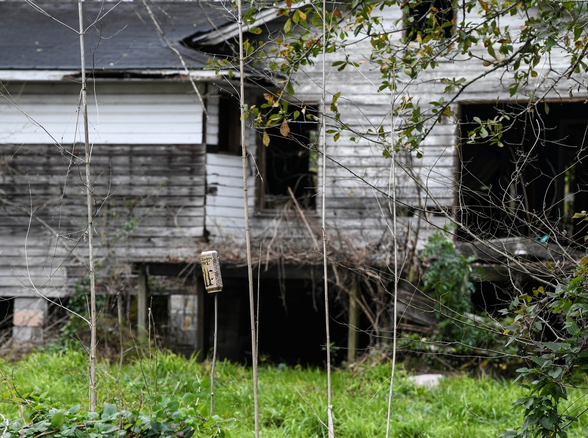 A dilapidated home can be seen from neighboring Old Plateau Cemetery, the final resting place for many who spent their lives in Africatown, near Mobile, Ala., on Tuesday, Jan. 29, 2019. Many of the survivors of the Clotilda's voyage are buried here amongst the trees. (AP Photo/Julie Bennett)